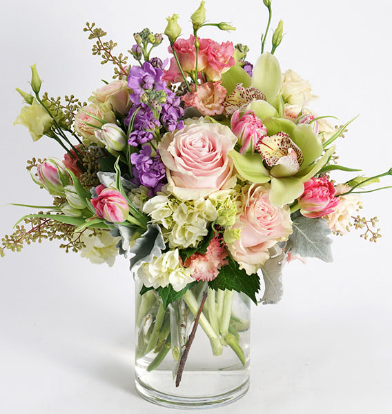 A colorful, mixed floral arrangements
